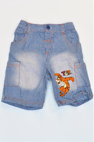 Disney Blue & White Striped Tigger Pocket Pants Boys 18-24 months
