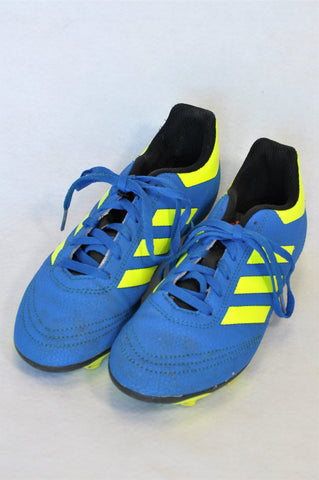 Adidas Blue & Yellow Soccer Boot Shoes Boys Youth Size 3