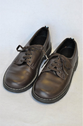 Woolworths Leather Brown Lace Up School Shoes Boys Youth Size 3