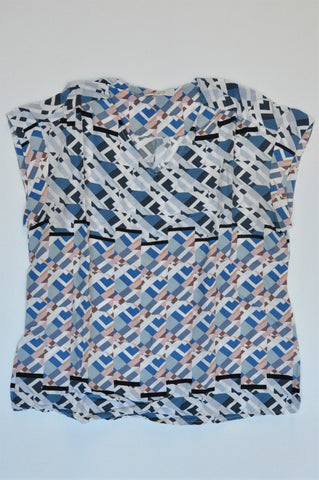 Poetry Blue & Pink Geometric Print Sleeveless V Neck Blouse Women Size 10