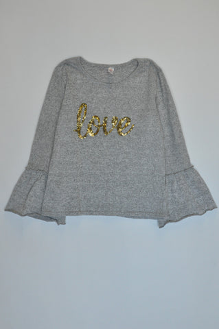Ackermans Grey Knit Sequin Love Flare Long Sleeve Top Girls 11-12 years