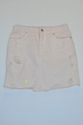 Woolworths Pale Pink Distressed Denim Skirt Girls Size 4
