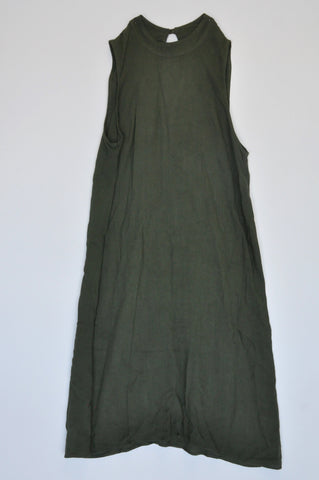 Woolworths Army Green High Neck Sleeveless Shift Dress Girls Size 4
