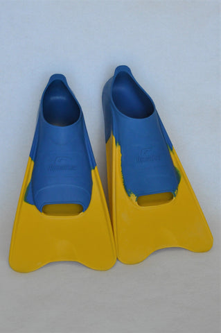 Aqualine Blue & Yellow Swimming Fins Unisex Youth Size 13 to  1