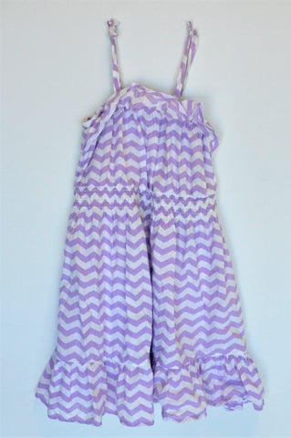 Naartjie Purple & White Zig Zag Pattern Dress Girls 5-6 years