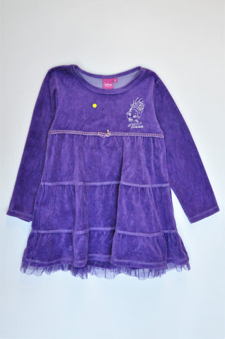 Disney Purple Longsleeve Princess Tiana Dress Girls 6-7 years