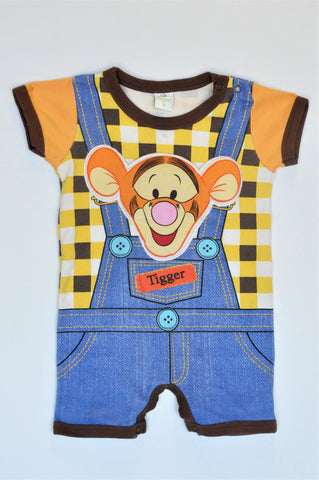 Disney Brown & Yellow Tigger Romper Boys 3-6 months
