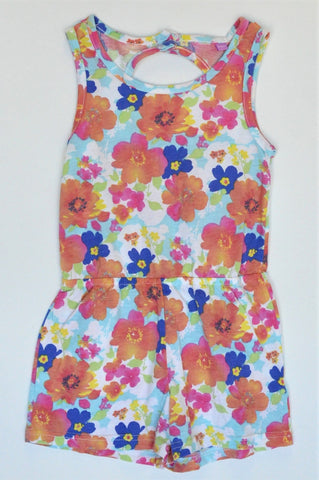 QTee Multi Colour Floral Jumpsuit Girls 5-6 years