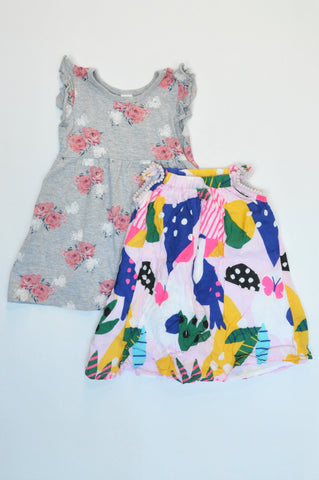 Pick 'n Pay Pack Of 2 Grey Floral & Multi Colour Dresses Girls 1-2 years