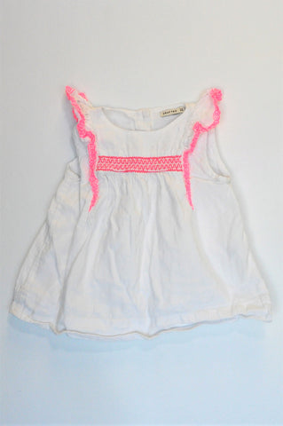 Crafted White & Pink Trim Top Girls 2-3 years