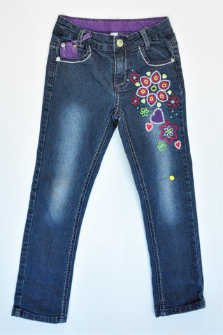Woolworths Dark Blue Flower & Heart Embroidered Jeans Girls 5-6 years