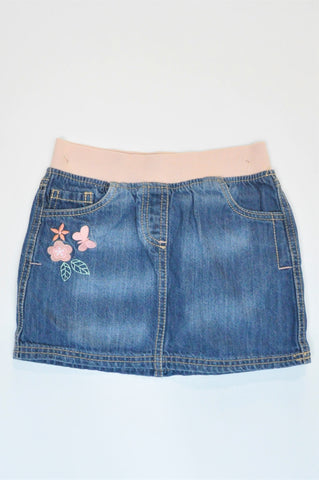F&F Dark Blue & Dusty Pink Waistband Butterfly Embroidered Skirt Girls 5-6 years