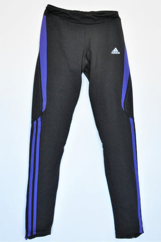 Adidas Black & Purple Sports Leggings Women Size XS