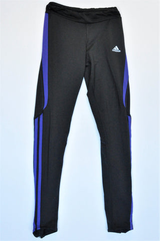 Adidas Black With Purple Stripes Sports Leggings Women Size XS
