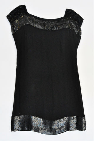 French Connection Black Sheer Overlay Sequin Detail Short Dress Women Size 10
