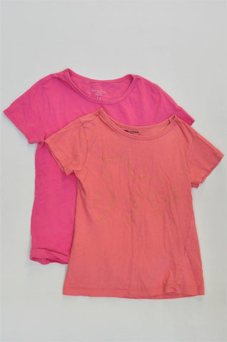 Pick 'n Pay Set Of Orange & Pink Short Sleeve T-Shirts Girls 7-8 years
