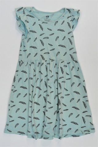 H&M Dusty Blue & Black Feather Detail Dress Girls 7-8 years