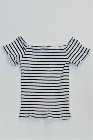 H&M Navy & White Striped Off The Shoulder Top Girls 7-8 years