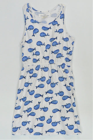 H&M White & Blue Whale Dress Girls 7-8 years