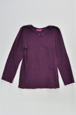 Phoebe & Floyd Dark Purple Ribbed Long Sleeve Lettuce Hem T-shirt Girls 7-8 years