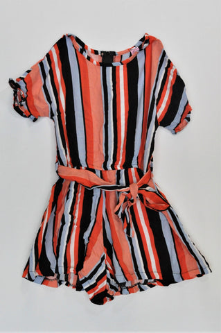 Gotcha Orange Blue & Black Striped Romper Girls 7-8 years