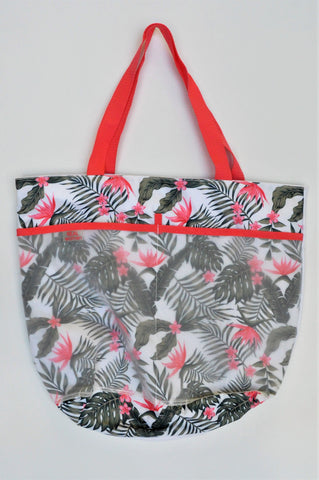 REAL Woman Green & Pink Palm Leaf & Flower Tote Bag Women/Girls 8+