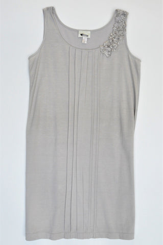 Unbranded Grey Pleated Detail Sleeveless Dress Women Size M