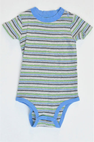 Carter's Grey With Blue & Green Stripes Baby Grow Boys 12-18 months
