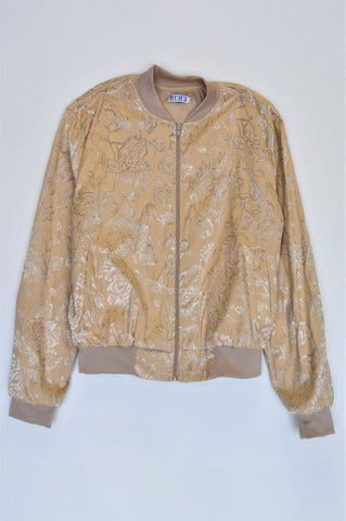 Ruru Light Brown Metallic Floral Detail Bomber Jacket Women Size M
