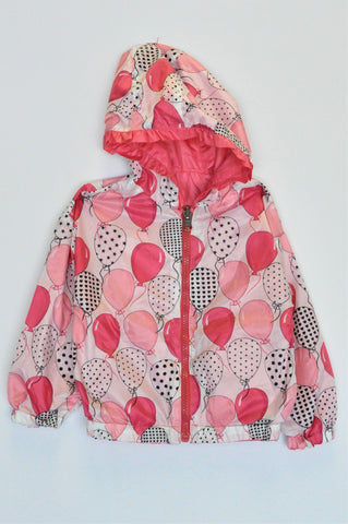 Unbranded Pink Balloon Lightweight Hooded Jacket Girls 9-12 months