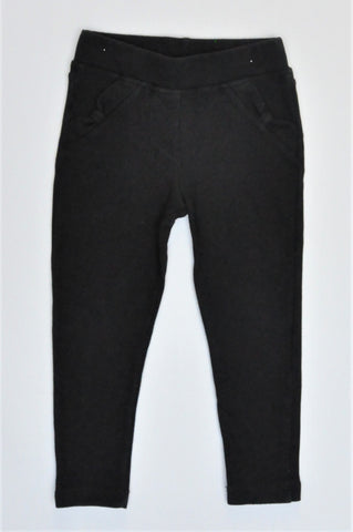 Lovetti Black Bow Pocket Detail Jeggings Girls 2-3 years