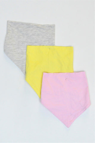 New LC Waikiki Pack Of 3 Yellow, Pink & Grey Bibs Girls N-B to 2 years