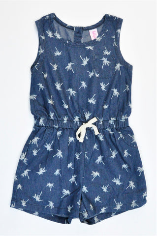Lollipop Navy Chambray Palm Trees Romper Girls 5-6 years