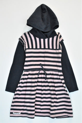 Earthchild Navy & Pink Stripe Hooded Long Sleeve Dress Girls 5-6 years