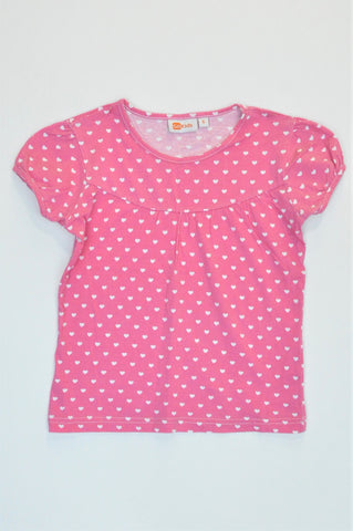 Go Kids Pink & White Heart Patterned Top Girls 5-6 years