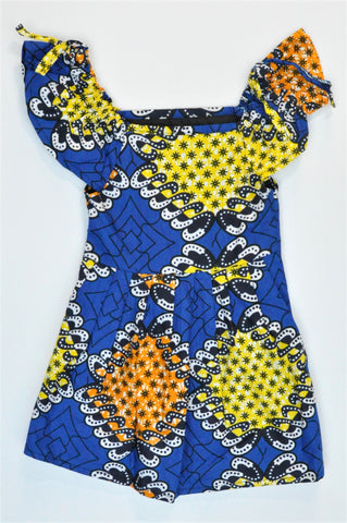 Unbranded Blue & Yellow Patterned Lightweight Dress Girls 2-3 years