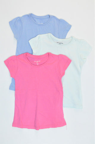 Pick 'n Pay Pack Of 3 Pink, Light Blue & Dusty Blue Basic T-Shirts Girls 5-6 years