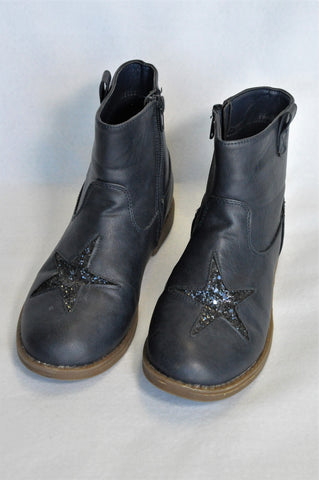 Woolworths Navy Glitter Star Boots Girls Youth Size 2