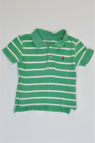 GAP Green & White Stripe Short Sleeve T-shirt Boys 12-18 months