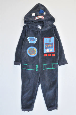 Woolworths Navy Fluffy Zip Up Robot Onesie Boys 1-2 years