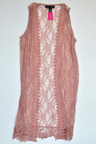 New Polly Esther Dusty Pink Sleeveless Floral Lace Cardigan Women Size M