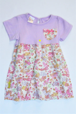 Hooligans Lilac & Cream Floral Animal Theme Short Sleeve Dress Girls 2-3 years