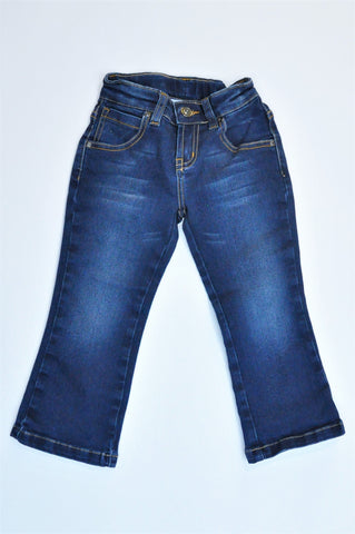See-Saw Dark Blue & Brown Threaded Jeans Girls 2-3 years