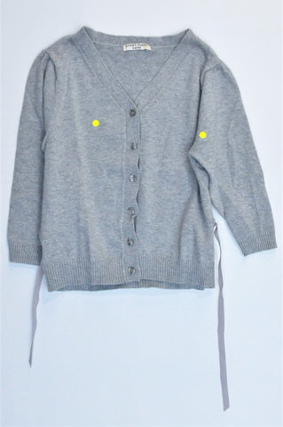 Sticky Fudge Grey Knitted Ribbon Detail Cardigan Girls 4-5 years