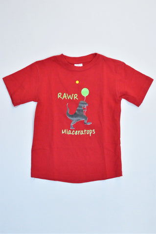 Vic Bay Red Short Sleeve 'Rawr Miaceratops' T-shirt Girls 4-5 years