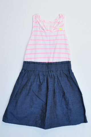 Unbranded White & Pink Striped Navy Skirt Dress Girls 2-3 years