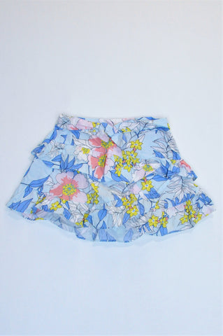 Cotton On Blue Pink & White Floral Layered Waist Tie Skirt Girls 2-3 years