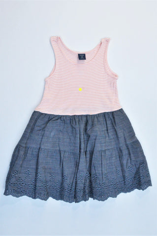 GAP Peach & White Striped Navy Skirt Dress Girls 2-3 years