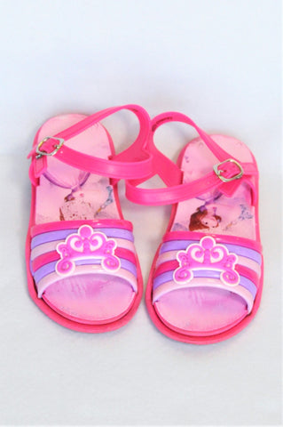 Disney Pink & Purple Stripe Tiara Sandals Girls Children Size 10