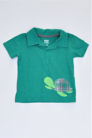Carter's Green Sea Turtle Collared T-shirt Boys 12-18 months